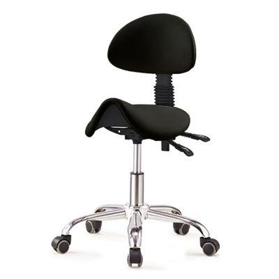 right side view of the ergolution ergonomic saddle stool with backrest