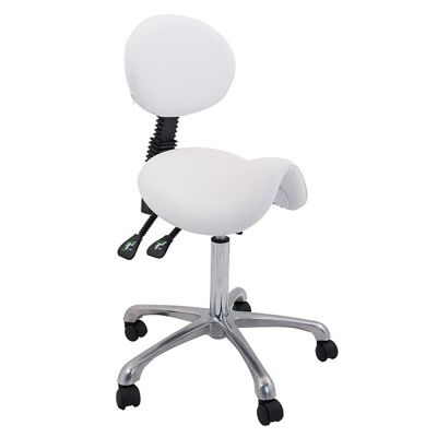 side view of the white saddle stool with backrest