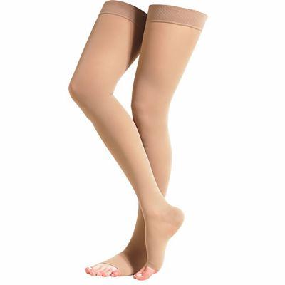 novamed compression stockings groin length closed toe right leg over left leg