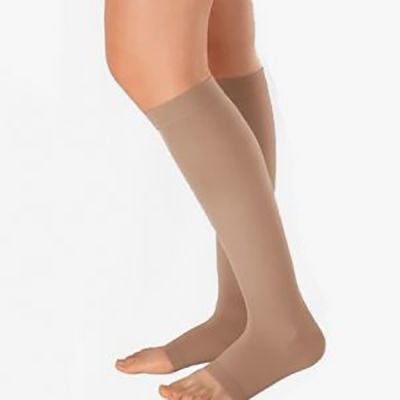 novamed compression stockings with open toe pressure class 1 left leg first