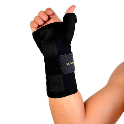 novamed thumb support wrist splint with hand held up