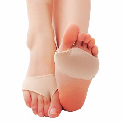 solelution metatarsal pads worn on feet