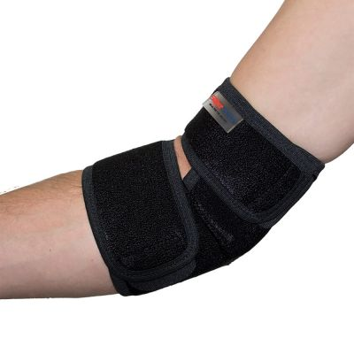 super ortho elbow support around right elbow